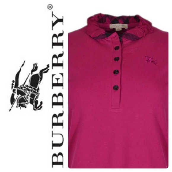 c5a3c440276 New Burberry Brit Polo Shirt Long Sleeves Pink